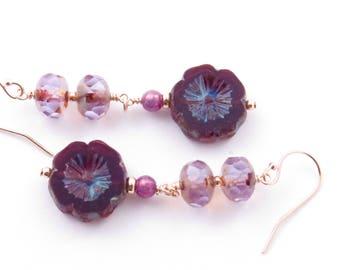 Black Cherry Flower Earrings, Czech Glass Dangle Earrings, Boho Style Jewelry, Gold Fill Earrings