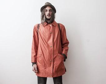 WindBreaker Rain Jacket 80s Burnt Orange Outerwear Evening Womens Jacket Veste Femme