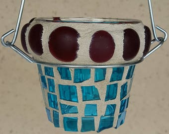 hanging flower pot mosaic stained glass turquoise red candle holder - home decor