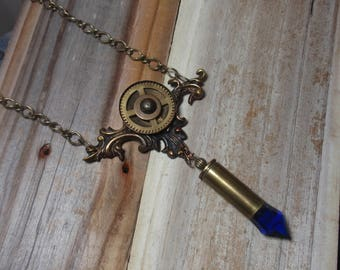 Victorian Necklace, Steampunk Necklace, Bullet Necklace, Victorian Filigree Focal, Gear Necklace, N72