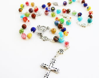 Contemporary Handmade Rosary--Hippie Style--Catholic--Prayer Beads--Inspirational--One of a Kind--Pray--Boho--Vintage--Colorful--Millefiori