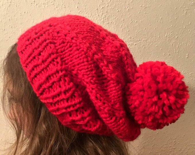 Red Giant Pom Pom Slouchy Knit Hat, Warm Winter Hat, Alpaca Blend Knit Hat, Chunky Knit Hat