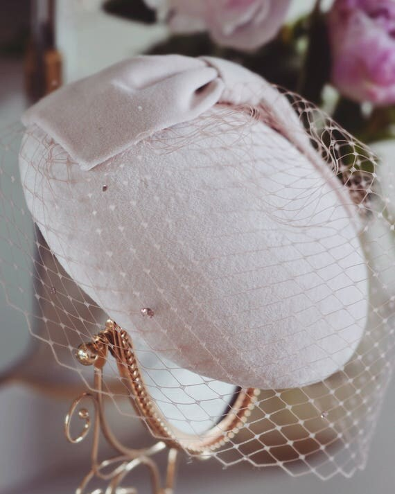 Blush Cocktail Hat With Birdcage Veil