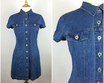 Vintage 1990s Denim Dress - 90s Blue Mini Dress - Short sleeved - Medium - UK 12 / US 8 / EU 40