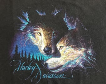 Vintage Harley Davidson wolf wolves Savannah Georgia southwestern shirt XL