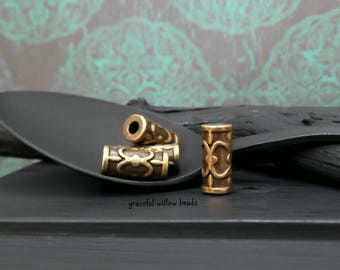 Antique Brass Finish Pewter Filigree Design Round Tube Cord Bead - Bohemian Metal Cord Bead - 13x6mm - Pkg. 4