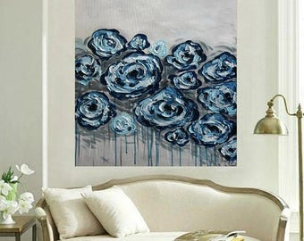 SALE Original Modern  Blue Navy  Gray  Flowers  Heavy  Impasto  Texture  Palette Knife Acrylic   Painting. Made2Order.