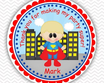 Superman Super heros - Personalized Stickers, Party Favor Tags, Thank You Tags, Gift Tags, Address labels, Birthday, Baby Shower