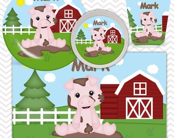 Pig Plate, Bowl, Cup, Placemat - Personalized Farm Dinnerware for Kids - Custom Tableware