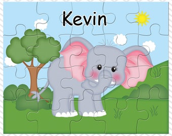 Elephant Personalized Puzzle, Personalized Elephant Puzzle, Personalized Kids Puzzle