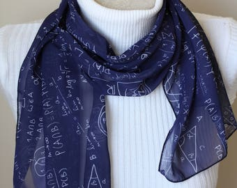Mathematics Scarf, Math Student Gift, Geometry Scarf, Gift for Her