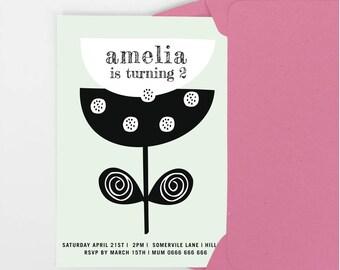 Girls Printable invitation, girls birthday party invitation, 5th, 6th birthday invite, girls party invitation, elegant invite