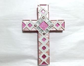 Baptism Gift Girl, Pink Wall Cross, Nursery Wall Cross, Mosaic Cross, Cross for Girl, Dedication Gift, Gift for Goddaughter, Christening