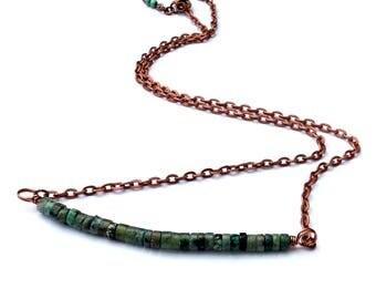 Turquoise necklace, beaded necklace, boho jewelry, turquoise jewelry, necklace for women, handmade ,copper turquoise, turquoise stone