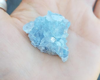 Small Celestite Crystal Geode SUPER Blue Sparkly Cluster, Gemstone Goddess mini Crystal- intuition, awareness, third eye chakra energy love
