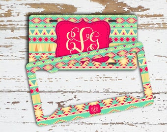 New driver gift, Aztec license plate or frame with monogram, Tribal front car tag, Personalized bike plate, Pink turquoise yellow (1683)