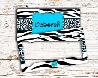 Teen zebra and cheetah vanity license plate or frame, Monogrammed front car tag for girls, Tween bike accessories  (1012)