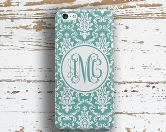 Personalized iPhone 8 Plus case, Damask Iphone 6 case, Floral iPhone 5s case, Pretty iphone 8 case, Women's gifts For Her Turquoise (9772