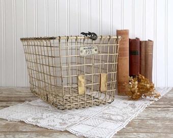 Vintage Metal Wire Basket, Old Gym Basket, Rustic Industrial Basket, Locker Basket, Loft Decor, Vintage Farmhouse Decor, Fixer Upper Decor