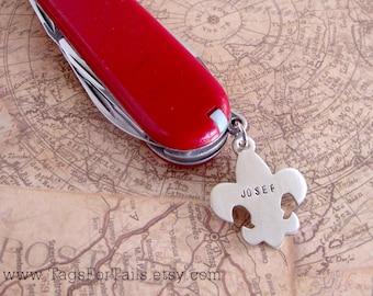 Fleur De Lis Charm for Pocket Knife- Custom Message -  Handmade - Boy Scout or Eagle Scout Gift
