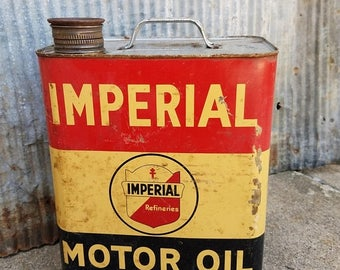 ON SALE Vintage Imperial Motor Oil Can, Two Gallon Can, Gas Station, Advertising, Petroliana, Imperial Refineries, Man Cave, Garage Decor