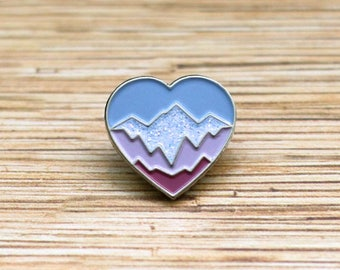 Mountain heart enamel pin Soft enamel Geometric mountain lapel pin Adventure Wanderlust badge climbing skiing snowboarding brooch pin gift