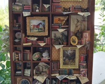 """Dollhouse miniature thematic library """"Horses lovers"""""""