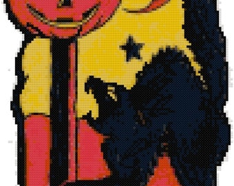 Vintage Halloween Cat and Pumpkin Cross Stitch Pattern, Digital Download PDF