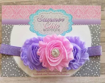 Pink and Lavender Baby Headband, Infant Headband, Newborn Headband, Headband - Shabby Chic Headband Pink and Purple, Easter Headband