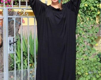 SALE ON 20 % OFF Black Maxi dress, Off shoulder dress, Caftan, Plus size dress, Plus size clothing, Abaya, Summer dress, Party dress