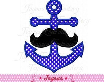 Instant Download Anchor Mustache Applique Embroidery Design NO:2351