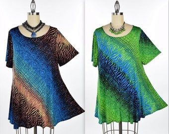 New Exotic Print Tunic, Dare2bstylish Tunic, Travelers Tunic top Small to 3XL. Plus Top, Short sleeve tunic