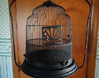 Antique Bird Cage Metal with Stand Possibly Crown