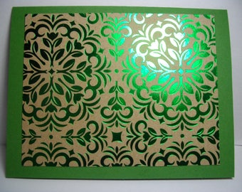NEW! Foiled Green • Box of 8 Handmade Cards