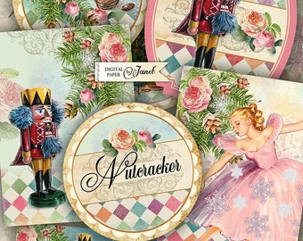 Nutcracker Collection - digital collage sheet - set of 9 elements - Printable Download