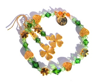St. Patrick's Day Jewelry Set, Irish Blessings, Green and Gold, Shamrock, Celtic Gift Set, Gifts for Her, Lucky, Irish, Swarovski Crystals