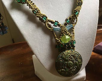 Green and Gold Necklace and Earring Set