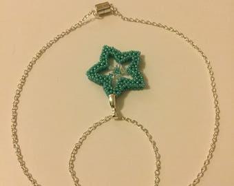 Aqua beaded star pendant