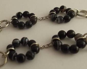 White striped black agate necklace
