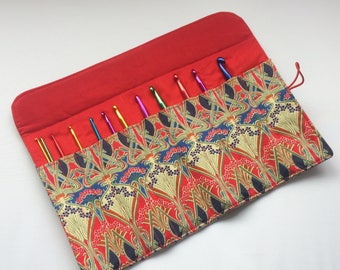 Liberty of London Ianthe tana lawn crochet hook roll, organiser, case, holder, storage - made in Cornwall