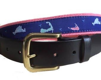 Cape Cod, Nantucket and Martha's Vineyard Island Leather Belt /Leather Belt /Canvas Belt /Preppy Belt for Men, / 3 Islands on Coral Webbing