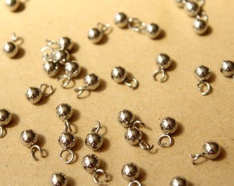 25 pc. Silver Plated Drop End Pieces, 5mm    FI-378
