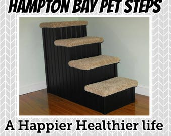 "Dog Steps, Pet Stairs, 24"" High Doggie Steps for Beds, Handmade in USA, Dog Stairs, Pet Steps for Dogs, Dog Bed Steps, Pet Steps for Dogs"