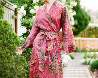 Coral delight. One readymade Haiku robe in cotton. Bohemian womens kimono long robe Art deco flapper style Festival kimono US size 4-6
