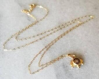 14k gold and rustic rose cut diamond eye pendant