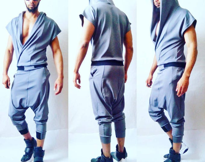 Black or Grey Ponte Draped Front Jumpsuit in Grey Wrap Hoodie Drop Crotch Harem Flight Suit romper rick owens harem jogger apocalyptic