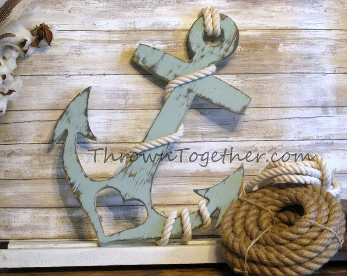 "Anchor with Heart and Rope, Nautical Beach Wood Wall Decor, Handmade 20"" Wood Anchor, Rustic Wedding Prop, Farmhouse Gallery Wall Art"