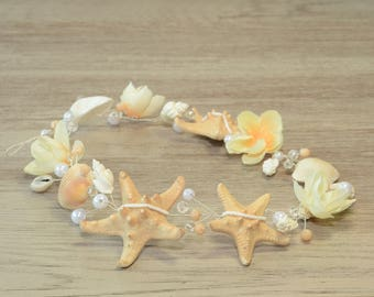 Beach Wedding Hair Accessories, Shell Headpiece, Mermaid Bridal Crystal Hair Vine, Seashell Starfish Crown, Flower Headband Little Mermaid