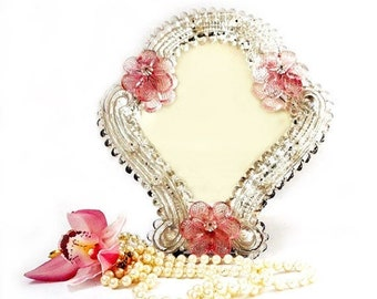 SALE Vintage Venetian Murano Mirror, Italian Dressing Table Mirror, Ornate Pink Flowers Mirror ,Hanging Wall Murano Mirror