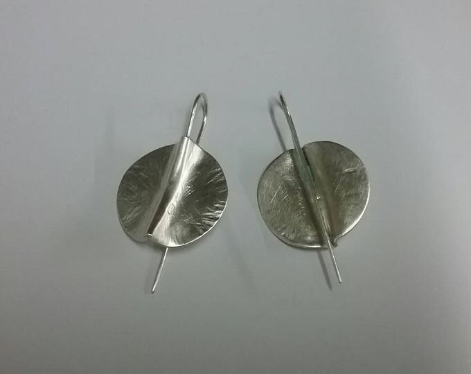 Silver Atlantic 1 Hammered Textured Circular Drop Earrings by Ruairí O'Neill